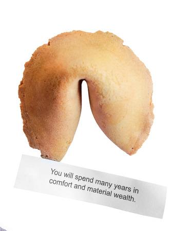 bonne aventure: Fortune Cookie avec un message isolé sur fond blanc. Banque d'images