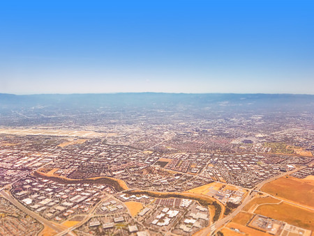 Aerial view on Silicon Valley with a slight tilt shift effect.