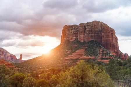 sedona: Red rocks near Sedona, Arizona, at the sunset.