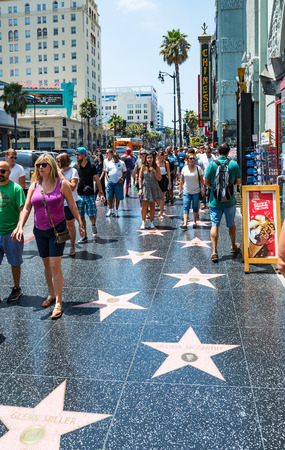 Hollywood boulevard: LOS ANGELES, CA - AUGUST 5, 2016: Walk of Fame on Hollywood Boulevard on August 5th 2016.