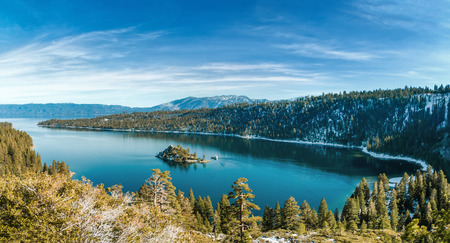 sierra snow: Emerald Bay is a state park on Lake Tahoe in California.