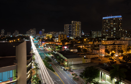 floridian: Long exposition night shot of Alton Rd. in Miami Beach, Florida, with camera pointed to south. Stock Photo