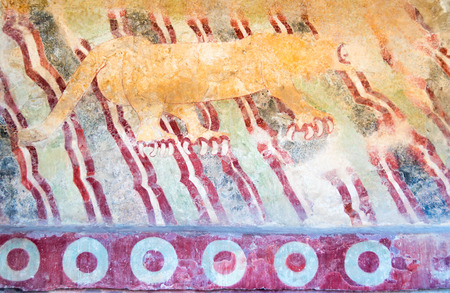 Puma mural, or Jaguar Mural, is located on the Avenue of the Dead, between The Pyramid of the Sun and The Pyramid of the Moon in San Juan Teotihuacan, Mexico. Editorial
