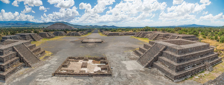 The Plaza of the Moon and the Avenue of the Dead with the Pyramid of the Sun in the distance, seen from the Pyramid of the Moon, at Teotihuacan, Mexico. Stock Photo