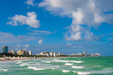 The view on South Beach in Miami Beach, Florida, USA, from South Pointe Pier in South Pointe Park. Stock Photo