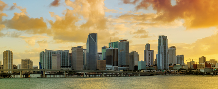 residential building: Panorama of Downtown Miami, Florida, USA, seen from MacArthur Causeway at sunset.