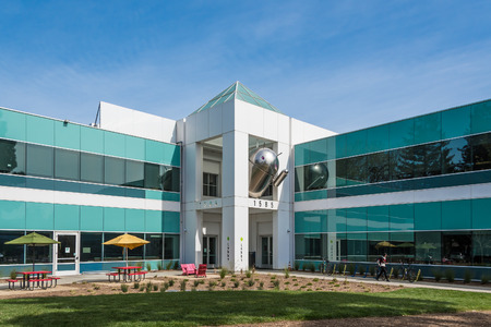 Mountain View, CA, USA - March 3, 2017: Android statue waving from the second floor of Android Building on Google campus in Mountain View, California, USA, on March 3rd, 2017. Editorial