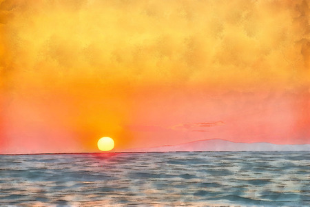 Digital watercolor painting of a sunset on Sithonia (Longos), middle-south part on Chalkidiki peninsula in Greece. Stock Photo