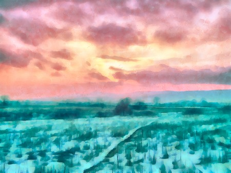 Digital watercolor painting of a winter sunset with warm tones in the sky contrasting cold tones of the snow on the ground. Stock Photo