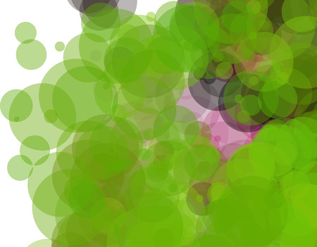 Green and pink bubbles, grunge background vector. Ink splatter, blots, spot elements. Watercolor paint splashes pattern, fluid stains spots background.