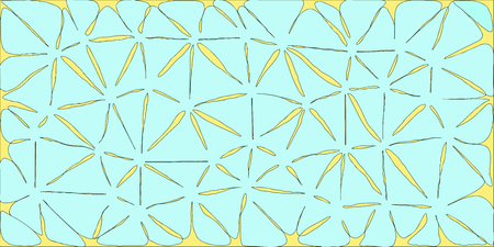 Light blue yellow stylized floral vector grunge background with simplified flowers and blobs.