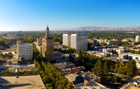 The view on the north part of the downtown of San Jose, California, the capitol of Silicon Valley, high tech center of the world, on a sunny day.
