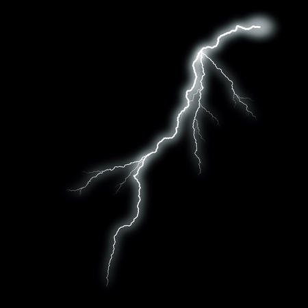 White lightning with a glow isolated over black background, photo realistic illustration. For the best effect set the layer with the lightning to screen mode.