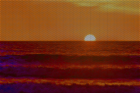 Vector Illustration of a sunset over Pacific Ocean seen from San Diego, California, USA. The illustration is made of dots. Illustration