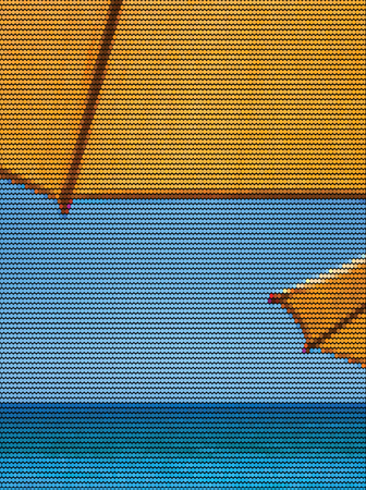 Vector Illustration of two dark yellow sun umbrellas on the beach, the ocean and the blue sky. The illustration is made of dots Фото со стока - 114793518