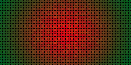 Vector background made of a green edges red center gradient and and lined up circles resembling pixels.