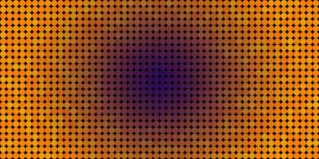 Vector background made of a purple center orange edges gradient and and lined up circles resembling pixels. Illustration