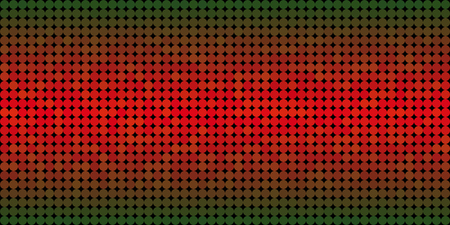 Vector background made of a green red gradient and and lined up circles resembling pixels. Illustration
