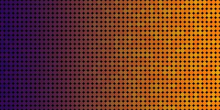 Vector background made of a purple orange gradient and and lined up circles resembling pixels.
