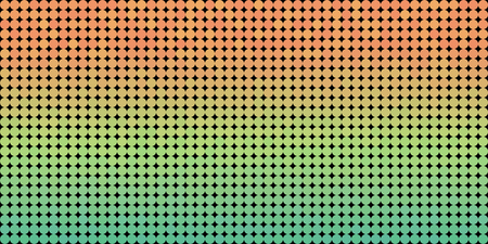 Vector background made of a green orange gradient and and lined up circles resembling pixels.