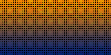 Vector background made of a blue orange gradient and and lined up circles resembling pixels.