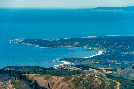 Carmel by The Sea in California seen from the plane on a sunny day. Stock Photo