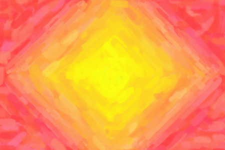 Yellow red diamond shaped watercolor gradient background. Colorful digital illustration simulating true watercolor with paper texture.