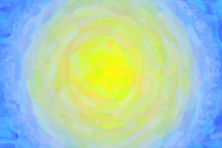 Yellow blue circular watercolor gradient background. Colorful digital illustration simulating true watercolor with paper texture. 写真素材