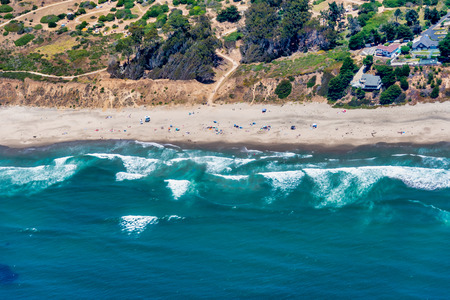 The aerial view of California coast near the city of Aptos, close to the city of Santa Cruz.