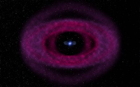 Computer generated illustration of a planetary nebula forming after the explosion of a star. The remnant of the star called white dwarf is visible in the center of the nebula.