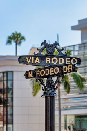Street sign for Rodeo Drive, a famous shopping street in Beverly hills. 写真素材