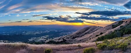 Sunset seen from Mount Diablo State Park in Northern California. The image was taken in Late May.