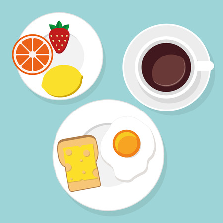 vectorrn: Breakfast food and drinks in flat style vector illustration