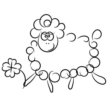 Nice cartoon vector sheep isolated on a white background Vector