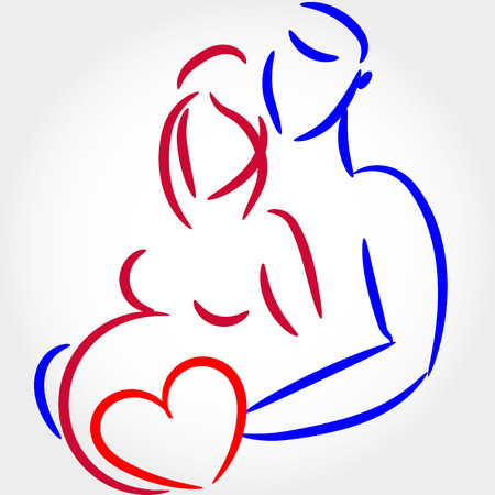 husband and wife: man and woman are pregnant silhouette Illustration