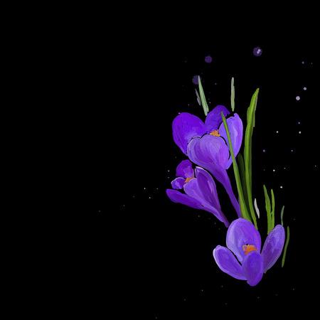 dessin fleur: fleur dessin couleurs huileuses sur un fond noir Illustration