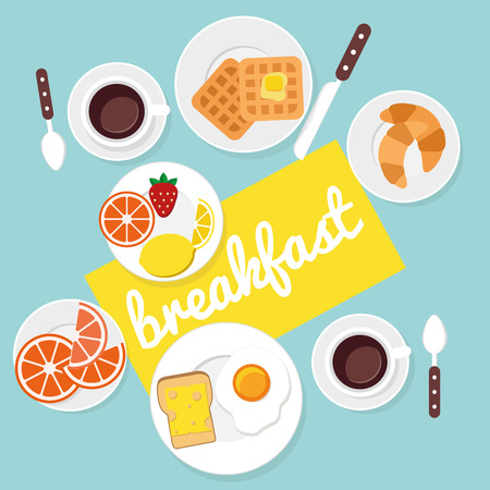 tables: Breakfast food and drinks in flat style vector illustration