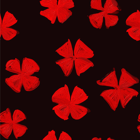 modernity: Fashionable ornament pattern with elements of modernity and old style. Red and black gamma. Abstract flowers pattern Illustration