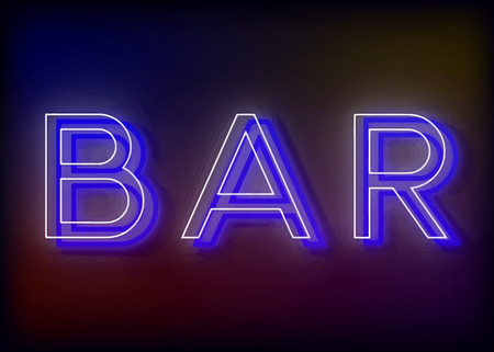Bar neon sign, design for your business. Bright attracts the attention of a luminous sign saying - Bar. Vector