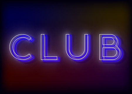 city live: Neon Club. Club neon sign. Bright attracts the attention of a luminous sign saying - Club. Illustration