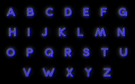 neon alphabet. 24 letters for your design, glowing and very beautiful photo