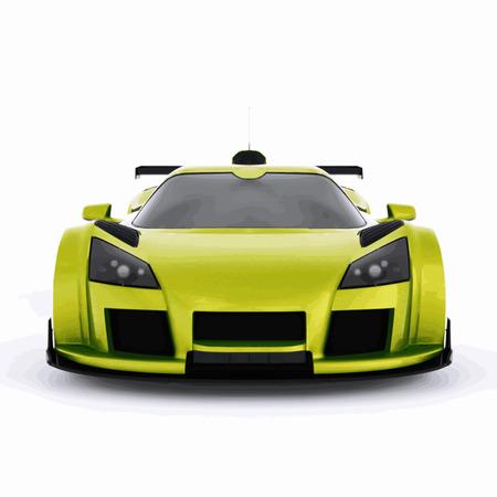 車のレースの高速化。緑の非常に高速のレース車。