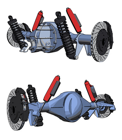 axle: Rear axle assembly with suspension and brakes. Red dampers.