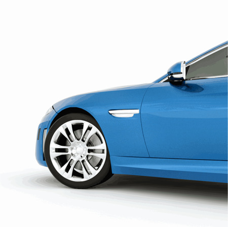 Very fast sport blue car. Vector illustration of a blue sports car. Vector