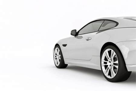 Very fast sport white car. Vector illustration of a white sports car. Vector