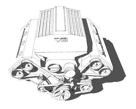The internal combustion engine. Powerful eight-cylinder engine. Pencil drawing.