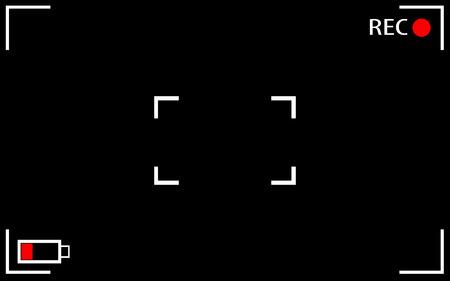rec: Camera concentrandosi illustrazioni vettoriali schermo. Camera mirino sfondo rec