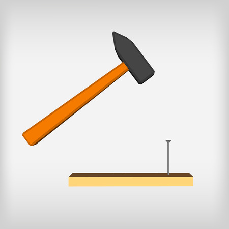 impact tool: hammer icon with long shadow. flat style vector illustration