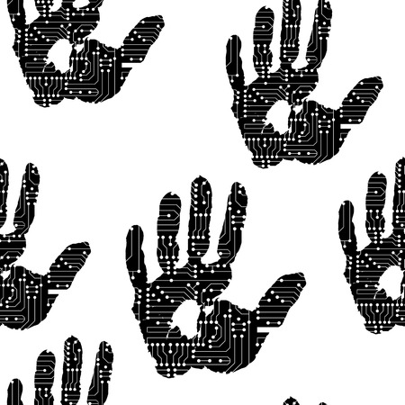 technologic: handprint with the electronic board vector pattern