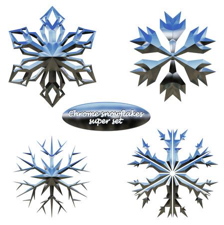 chromed: Snowflakes set. Vector illustration chromed metal snowflakes